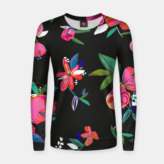 Thumbnail image of Pretty Hand Drawn Bloom Floral Black Background Pattern Women sweater, Live Heroes