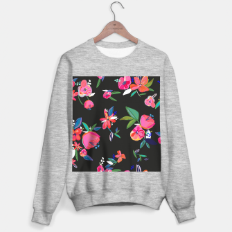 Thumbnail image of Pretty Hand Drawn Bloom Floral Black Background Pattern Sweater regular, Live Heroes