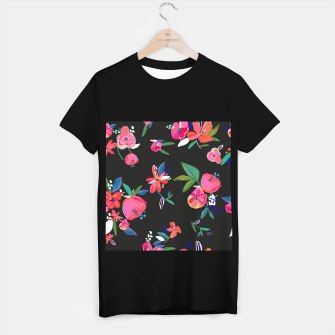 Thumbnail image of Pretty Hand Drawn Bloom Floral Black Background Pattern T-shirt regular, Live Heroes