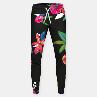 Thumbnail image of Pretty Hand Drawn Bloom Floral Black Background Pattern Sweatpants, Live Heroes