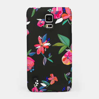 Thumbnail image of Pretty Hand Drawn Bloom Floral Black Background Pattern Samsung Case, Live Heroes