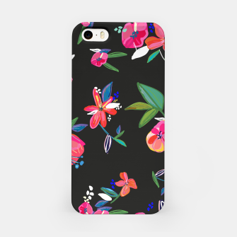 Thumbnail image of Pretty Hand Drawn Bloom Floral Black Background Pattern iPhone Case, Live Heroes