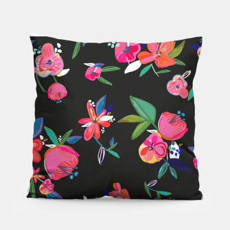 Thumbnail image of Pretty Hand Drawn Bloom Floral Black Background Pattern Pillow, Live Heroes