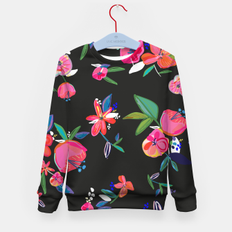 Thumbnail image of Pretty Hand Drawn Bloom Floral Black Background Pattern Kid's sweater, Live Heroes