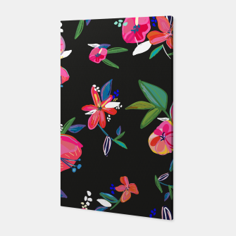 Thumbnail image of Pretty Hand Drawn Bloom Floral Black Background Pattern Canvas, Live Heroes