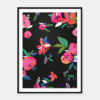 Thumbnail image of Pretty Hand Drawn Bloom Floral Black Background Pattern Framed poster, Live Heroes