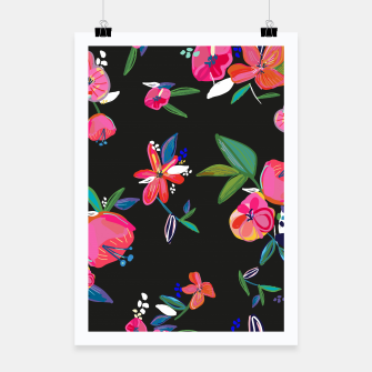 Thumbnail image of Pretty Hand Drawn Bloom Floral Black Background Pattern Poster, Live Heroes