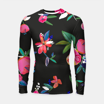 Thumbnail image of Pretty Hand Drawn Bloom Floral Black Background Pattern Longsleeve rashguard , Live Heroes
