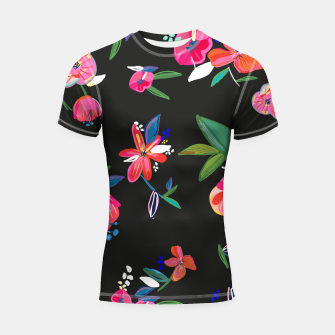 Thumbnail image of Pretty Hand Drawn Bloom Floral Black Background Pattern Shortsleeve rashguard, Live Heroes