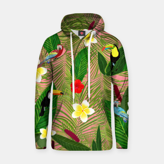 Miniatur Palm leaves, red hibiscus, frangipani and lily. Tropical pattern Hoodie, Live Heroes