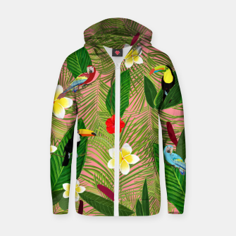 Miniatur Palm leaves, red hibiscus, frangipani and lily. Tropical pattern Zip up hoodie, Live Heroes
