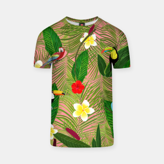 Miniatur Palm leaves, red hibiscus, frangipani and lily. Tropical pattern T-shirt, Live Heroes