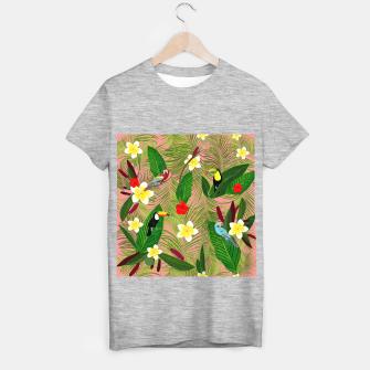Miniatur Palm leaves, red hibiscus, frangipani and lily. Tropical pattern T-shirt regular, Live Heroes