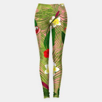 Miniatur Palm leaves, red hibiscus, frangipani and lily. Tropical pattern Leggings, Live Heroes