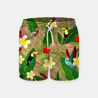 Miniatur Palm leaves, red hibiscus, frangipani and lily. Tropical pattern Swim Shorts, Live Heroes