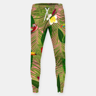 Thumbnail image of Palm leaves, red hibiscus, frangipani and lily. Tropical pattern Sweatpants, Live Heroes
