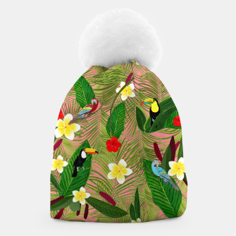 Miniatur Palm leaves, red hibiscus, frangipani and lily. Tropical pattern Beanie, Live Heroes