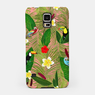 Miniatur Palm leaves, red hibiscus, frangipani and lily. Tropical pattern Samsung Case, Live Heroes