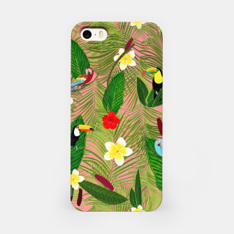 Miniatur Palm leaves, red hibiscus, frangipani and lily. Tropical pattern iPhone Case, Live Heroes