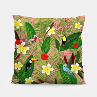Miniatur Palm leaves, red hibiscus, frangipani and lily. Tropical pattern Pillow, Live Heroes