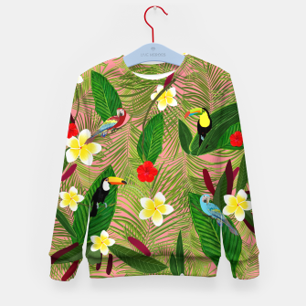 Miniatur Palm leaves, red hibiscus, frangipani and lily. Tropical pattern Kid's sweater, Live Heroes