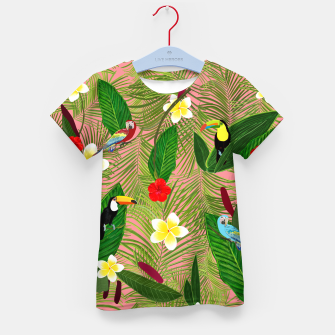 Miniatur Palm leaves, red hibiscus, frangipani and lily. Tropical pattern Kid's t-shirt, Live Heroes