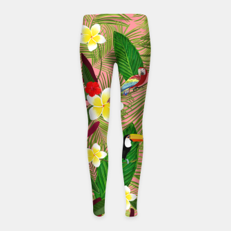 Miniatur Palm leaves, red hibiscus, frangipani and lily. Tropical pattern Girl's leggings, Live Heroes