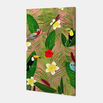 Miniatur Palm leaves, red hibiscus, frangipani and lily. Tropical pattern Canvas, Live Heroes