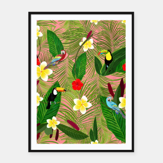 Miniatur Palm leaves, red hibiscus, frangipani and lily. Tropical pattern Framed poster, Live Heroes