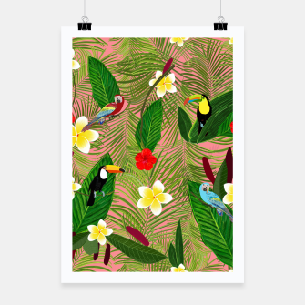 Miniatur Palm leaves, red hibiscus, frangipani and lily. Tropical pattern Poster, Live Heroes
