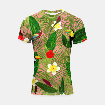 Miniatur Palm leaves, red hibiscus, frangipani and lily. Tropical pattern Shortsleeve rashguard, Live Heroes