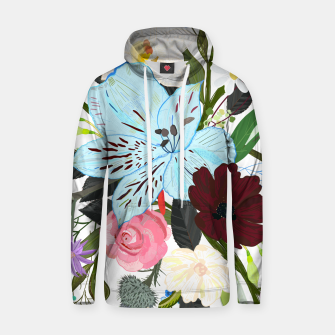 Thumbnail image of Alstromerias, fucisia, roses, vanilla, cosmos flower. Floral bouquet Hoodie, Live Heroes