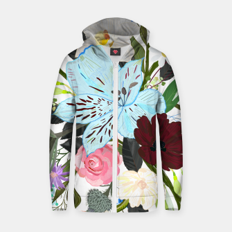 Thumbnail image of Alstromerias, fucisia, roses, vanilla, cosmos flower. Floral bouquet Zip up hoodie, Live Heroes