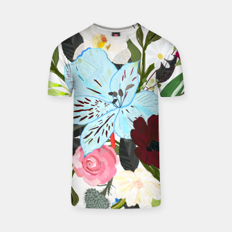 Thumbnail image of Alstromerias, fucisia, roses, vanilla, cosmos flower. Floral bouquet T-shirt, Live Heroes