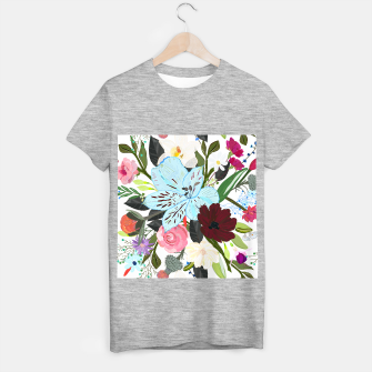 Thumbnail image of Alstromerias, fucisia, roses, vanilla, cosmos flower. Floral bouquet T-shirt regular, Live Heroes