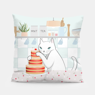 Thumbnail image of Sweet Tea Time on Cat's Kitchen Pillow, Live Heroes