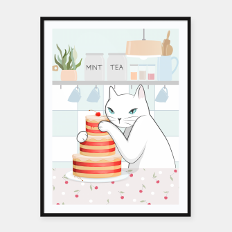 Thumbnail image of Sweet Tea Time on Cat's Kitchen Framed poster, Live Heroes