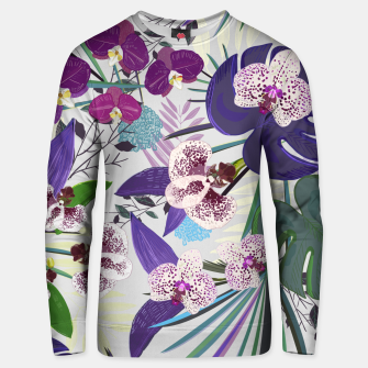 Thumbnail image of Orchid and purple and green tropical palm and monstera leaves pattern Unisex sweater, Live Heroes