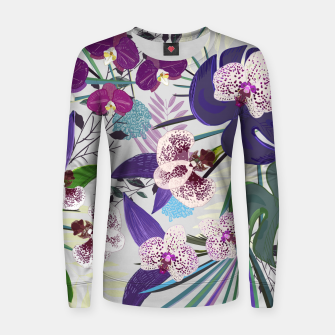 Thumbnail image of Orchid and purple and green tropical palm and monstera leaves pattern Women sweater, Live Heroes