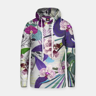 Thumbnail image of Orchid and purple and green tropical palm and monstera leaves pattern Hoodie, Live Heroes