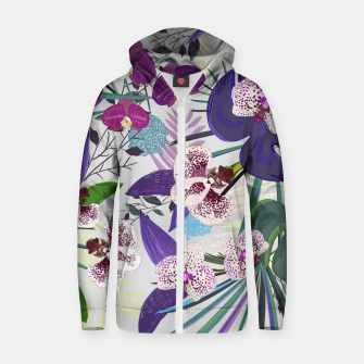 Thumbnail image of Orchid and purple and green tropical palm and monstera leaves pattern Zip up hoodie, Live Heroes