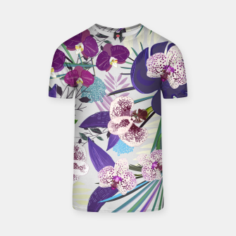 Thumbnail image of Orchid and purple and green tropical palm and monstera leaves pattern T-shirt, Live Heroes