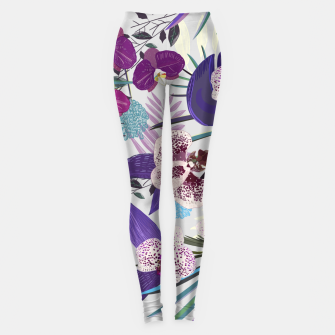 Thumbnail image of Orchid and purple and green tropical palm and monstera leaves pattern Leggings, Live Heroes