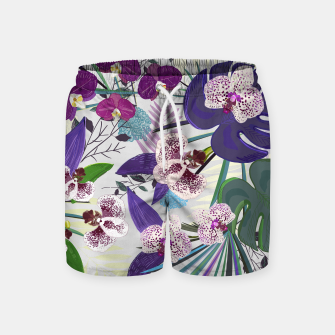 Thumbnail image of Orchid and purple and green tropical palm and monstera leaves pattern Swim Shorts, Live Heroes