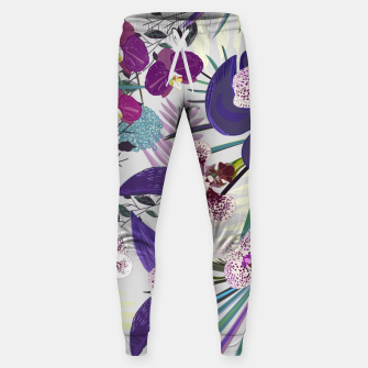Thumbnail image of Orchid and purple and green tropical palm and monstera leaves pattern Sweatpants, Live Heroes