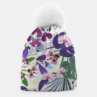 Thumbnail image of Orchid and purple and green tropical palm and monstera leaves pattern Beanie, Live Heroes