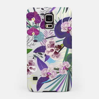 Thumbnail image of Orchid and purple and green tropical palm and monstera leaves pattern Samsung Case, Live Heroes
