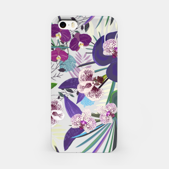 Thumbnail image of Orchid and purple and green tropical palm and monstera leaves pattern iPhone Case, Live Heroes