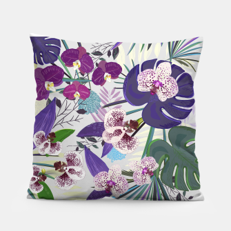 Thumbnail image of Orchid and purple and green tropical palm and monstera leaves pattern Pillow, Live Heroes