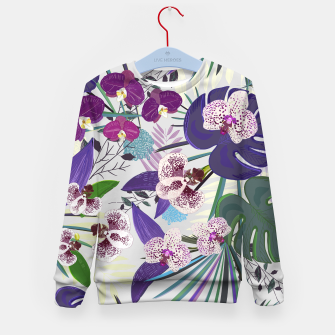 Thumbnail image of Orchid and purple and green tropical palm and monstera leaves pattern Kid's sweater, Live Heroes